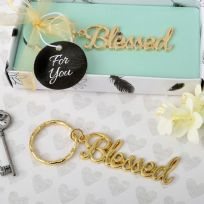 Gold Metal Blessed Themed Key Ring